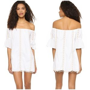 NWOT Tularosa Sara Off Shoulder Pom Pom Dress